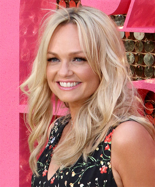 Emma Bunton Long Wavy Formal   Hairstyle   - Light Blonde - Side View