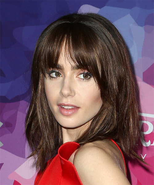 Lily Collins Medium Straight    Mocha Brunette Bob  Haircut with Blunt Cut Bangs  - Side View