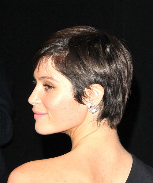 Gemma Arterton     Dark Brunette Pixie  Cut with Side Swept Bangs  - Side View