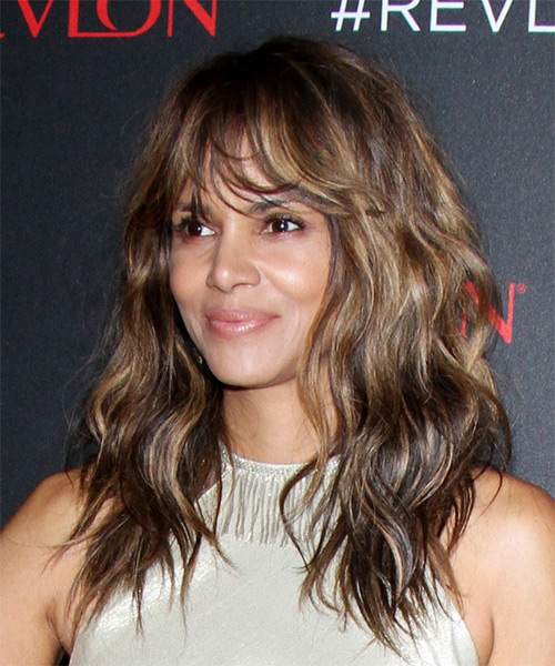 Halle Berry Long Wavy    Brunette   Hairstyle with Layered Bangs  - Side View