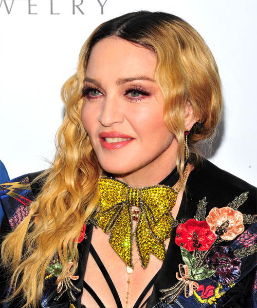 Madonna Long Curly Alternative    Hairstyle   - Medium Golden Blonde Hair Color - Side View