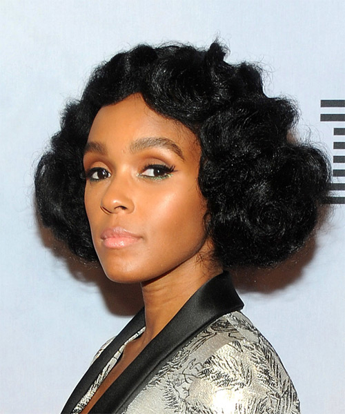 Janelle Monae Short Curly   Black  Bob  Haircut   - Side View