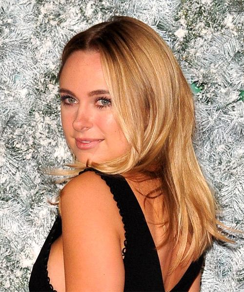 Kimberley Garner Long Straight Casual    Hairstyle   - Medium Golden Blonde Hair Color - Side View
