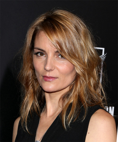 Susan Misner Chic Medium Wavy Casual    Hairstyle with Side Swept Bangs  - Light Brunette Hair Color - Side View