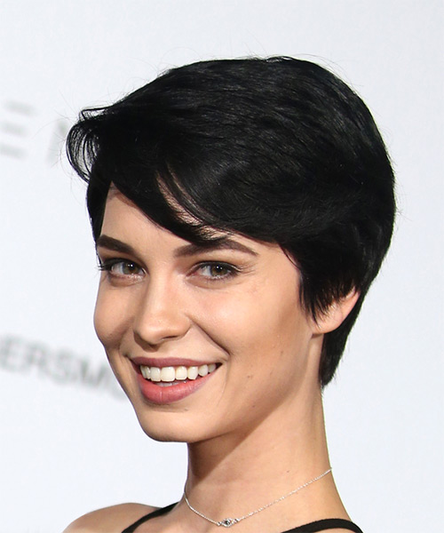 Pamela Horton Elegant Short Straight Casual  Pixie  Hairstyle with Side Swept Bangs  - Black  Hair Color - Side View
