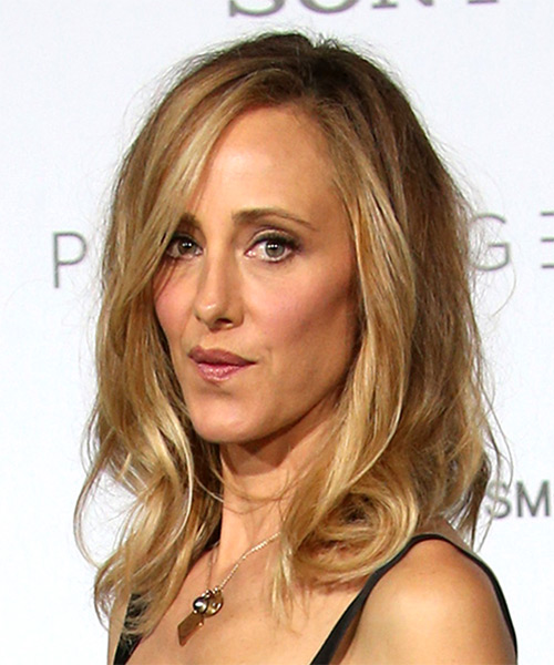 Kim Raver Voluminous Medium Straight Casual    Hairstyle with Side Swept Bangs  - Medium Blonde Hair Color - Side View