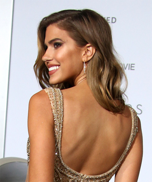 Kara Del Toro Windblown Long Wavy Formal    Hairstyle   - Medium Brunette Hair Color - Side View