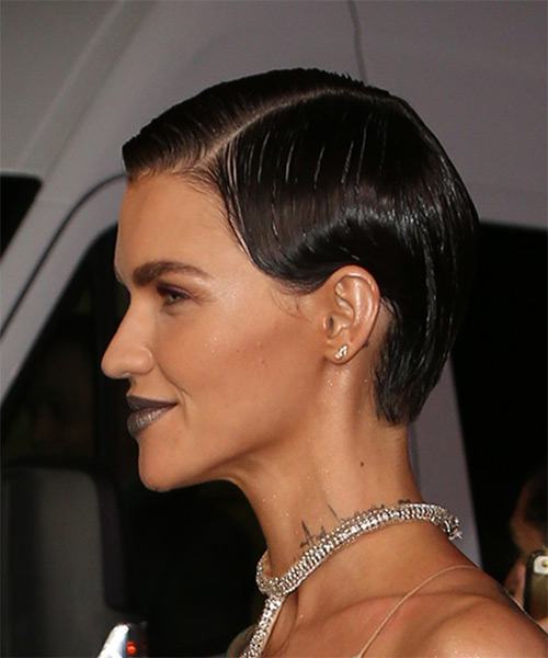 Ruby Rose Slick     Dark Brunette Pixie  Cut   - Side View