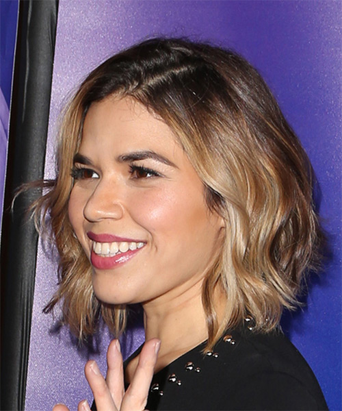 America Ferrera Cool Medium Wavy   Dark Brunette Bob  Haircut   with Dark Blonde Highlights - Side View