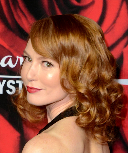Alicia Witt Voluminous Medium Wavy Formal    Hairstyle with Side Swept Bangs  -  Red Hair Color - Side View