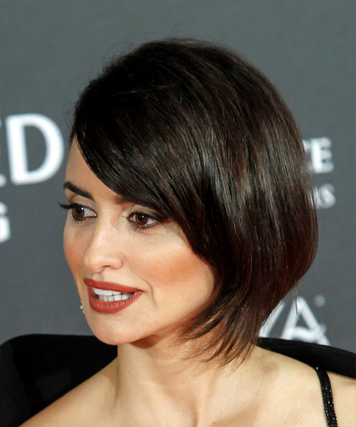 Penelope Cruz Medium Straight Formal Wedding  Hairstyle   - Dark Brunette - Side View
