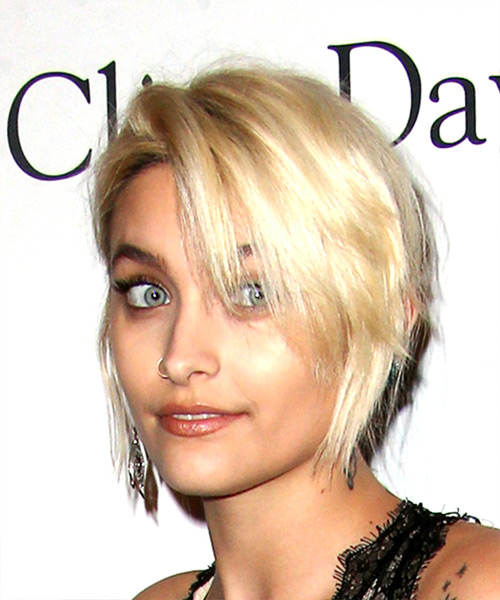 Paris Jackson Short Straight Casual Shag  Hairstyle with Side Swept Bangs  - Light Blonde - Side View