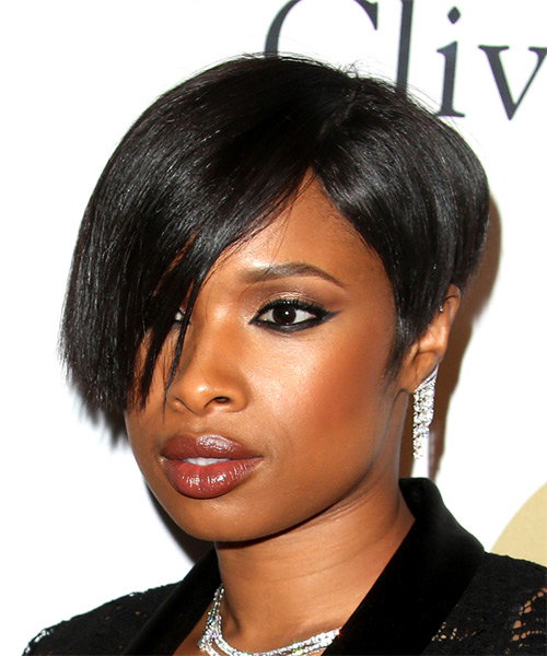 Jennifer Hudson Short Straight   Black  Bob  Haircut with Side Swept Bangs  - Side View
