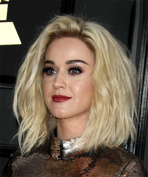 Katy Perry Medium Wavy Casual  Bob  Hairstyle   - Light Blonde Hair Color - Side View