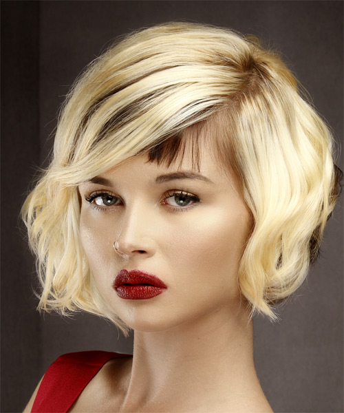 Short Wavy   Light Blonde and  Brunette Two-Tone Bob  Haircut with Asymmetrical Bangs  - Side View