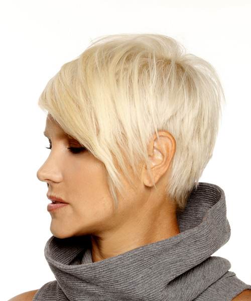 Short Straight Formal Pixie  Hairstyle with Side Swept Bangs  - Light Blonde (Platinum) - Side View
