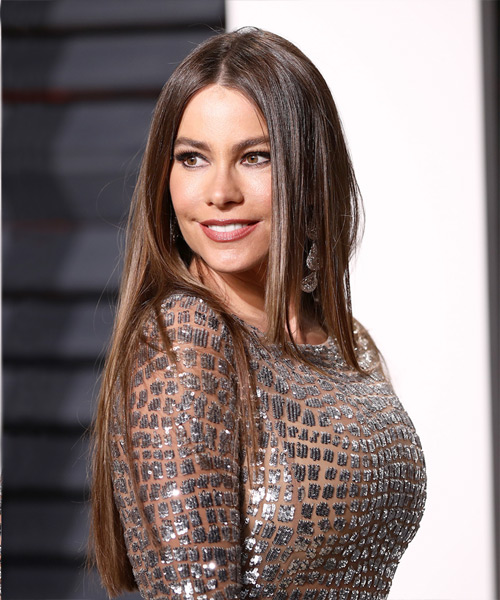 Sofia Vergara Long Straight Formal   Hairstyle   - Medium Brunette - Side View