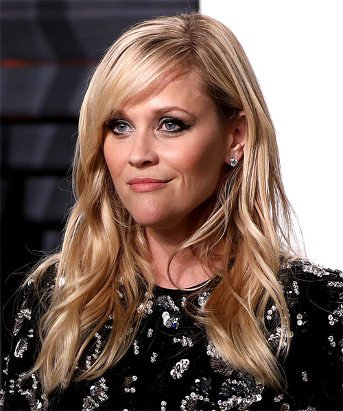 Reese Witherspoon Long Wavy Formal   Hairstyle with Side Swept Bangs  - Light Blonde - Side View