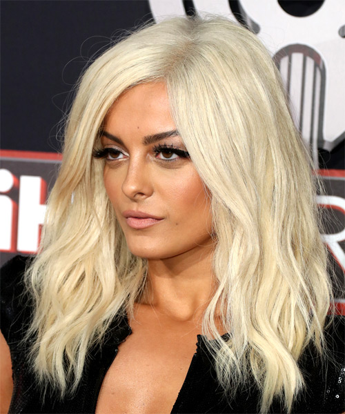 Bebe Rexha Long Wavy Casual   Hairstyle   - Light Blonde - Side View