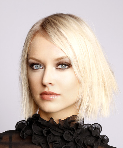 Short Straight Formal  Bob  Hairstyle with Side Swept Bangs  - Light Platinum Blonde Hair Color - Side View