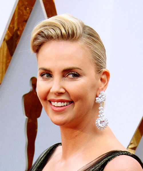 Charlize Theron Medium Wavy Formal   Updo Hairstyle   - Light Golden Blonde Hair Color - Side View