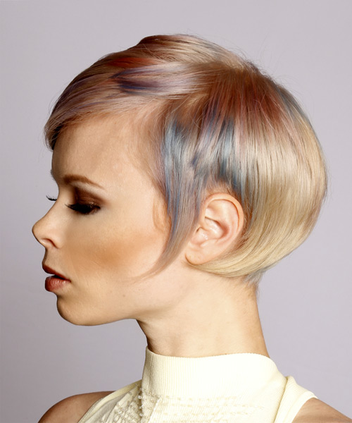 Short Straight Formal  Pixie  Hairstyle with Side Swept Bangs  - Light Blonde and Blue Two-Tone Hair Color with Pink Highlights - Side View