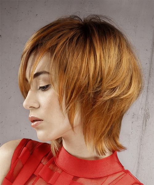 Short Straight Formal Shag  Hairstyle with Layered Bangs  - Medium Red (Ginger) - Side View