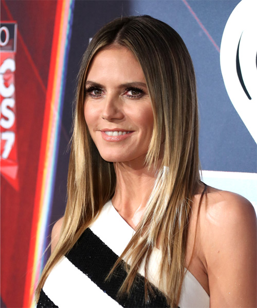 Heidi Klum Long Straight Formal    Hairstyle   - Light Brunette Hair Color - Side View