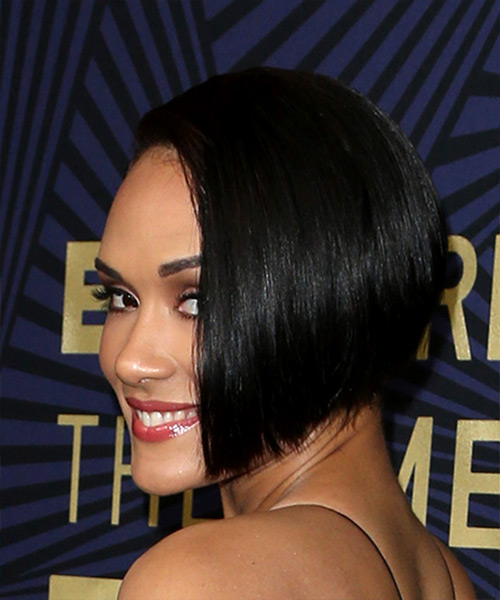 Grace Gealey Short Straight Casual Asymmetrical  Hairstyle   - Black - Side View