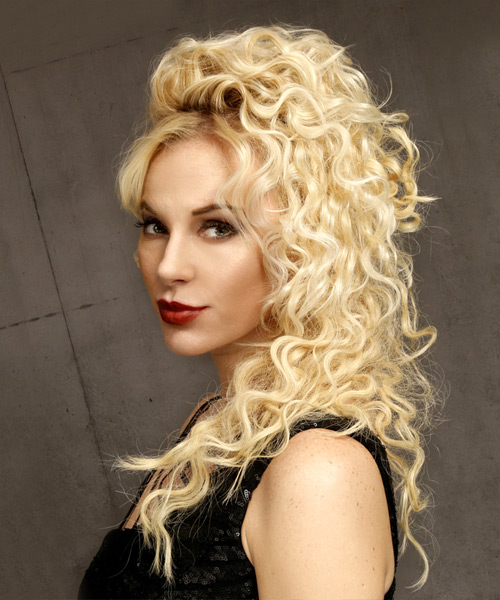 Long Curly   Light Blonde  Half Up Hairstyle   - Side View