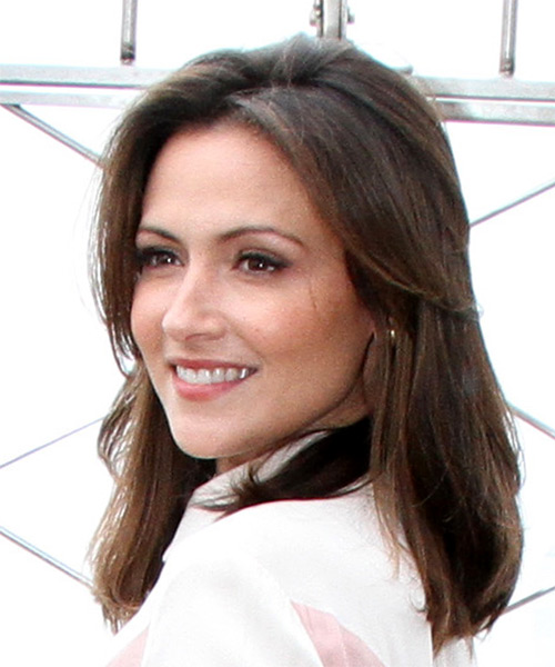 Italia Ricci Medium Straight Casual   Hairstyle   - Medium Brunette - Side View