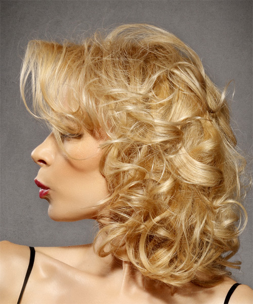 Medium Curly   Light Golden Blonde   Hairstyle with Side Swept Bangs  - Side View
