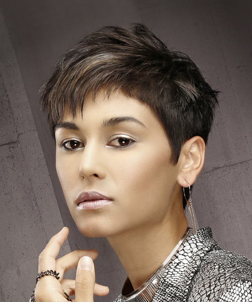 Short Straight Formal Pixie  Hairstyle with Asymmetrical Bangs  - Dark Brunette - Side View