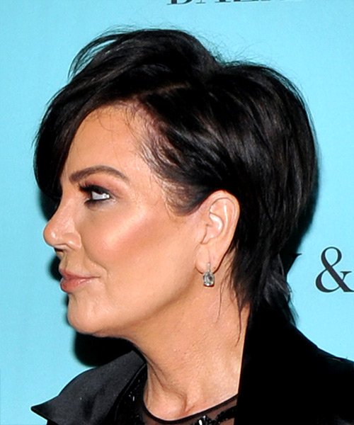 Kris Jenner Short Straight Casual Shag  Hairstyle with Layered Bangs  - Black - Side View