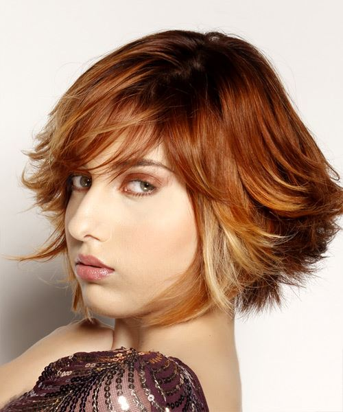 Short Straight Red Hairstyle with Side Swept Bangs and Light Blonde Highlights