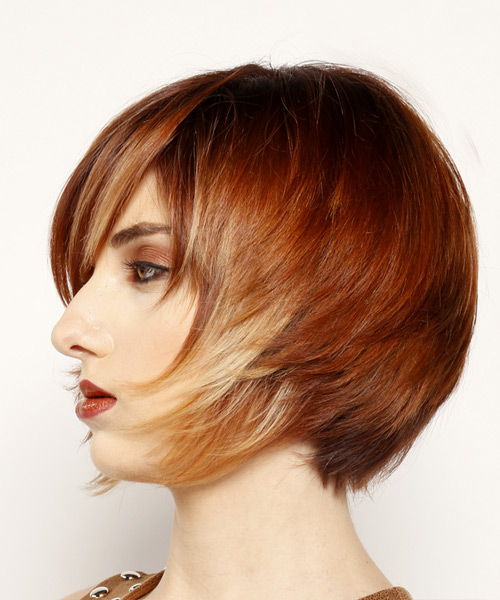 Short Straight Formal Bob  Hairstyle with Side Swept Bangs  - Dark Red - Side View