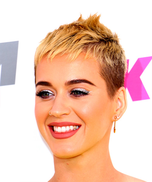 Katy Perry Short Straight Alternative  Pixie  Hairstyle with Razor Cut Bangs  - Light Blonde Hair Color - Side View