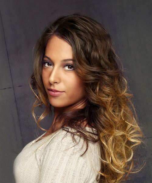 Long Curly Formal    Hairstyle   - Dark Brunette Hair Color with Light Brunette Highlights - Side View