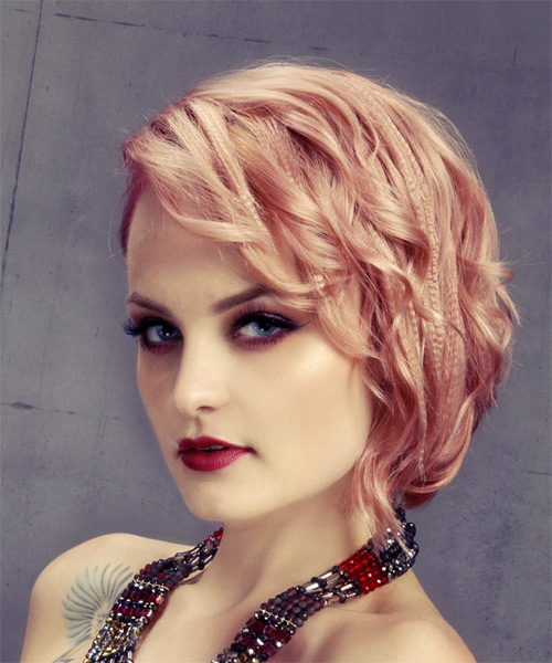 Short Wavy Casual  Asymmetrical  Hairstyle   - Light Blonde and Pink Two-Tone Hair Color - Side View