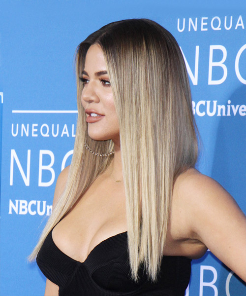 Khloe Kardashian Long Straight   Light Blonde   Hairstyle   - Side View