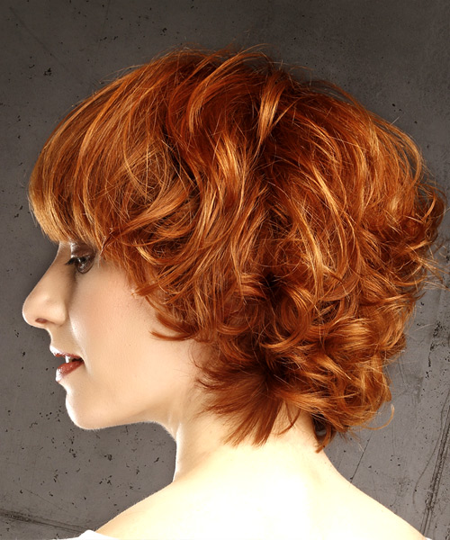 Short Wavy Casual Bob  Hairstyle with Blunt Cut Bangs  - Medium Red - Side View
