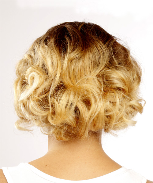 Short Curly Formal  Bob  Hairstyle   - Light Blonde Hair Color - Side View