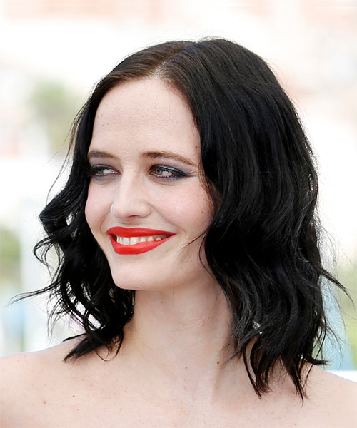 Eva Green Medium Wavy Casual Bob  Hairstyle   - Black - Side View