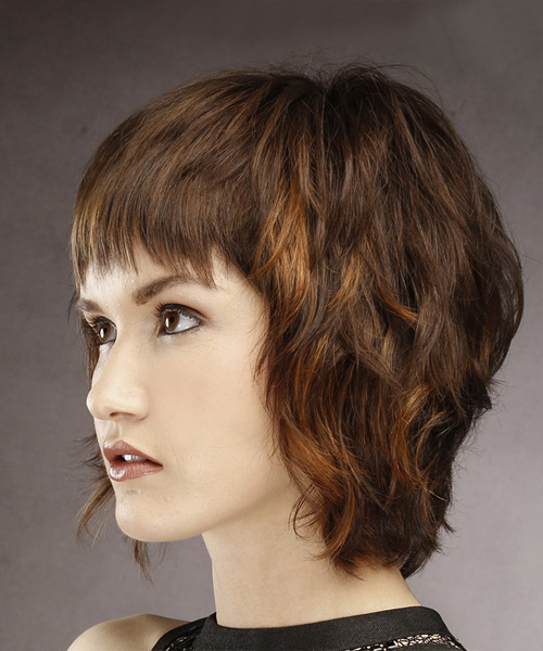 Short Straight Casual Shag  Hairstyle with Layered Bangs  - Medium Brunette - Side View