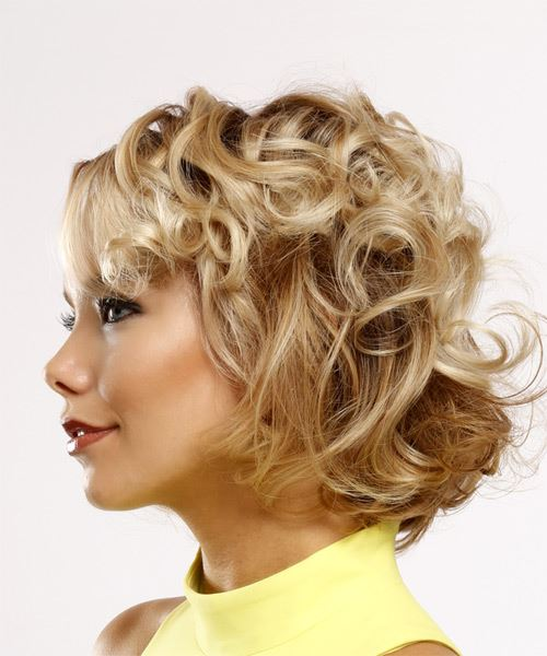 Short Curly   Light Blonde   Hairstyle with Side Swept Bangs  - Side View