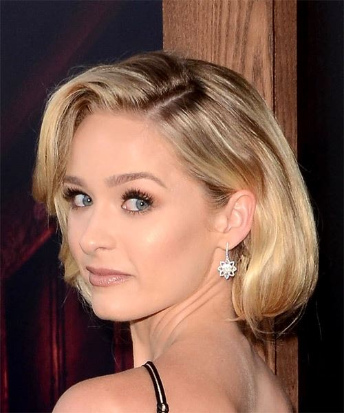 Greer Grammer Short Wavy Formal Bob  Hairstyle   - Light Blonde - Side View