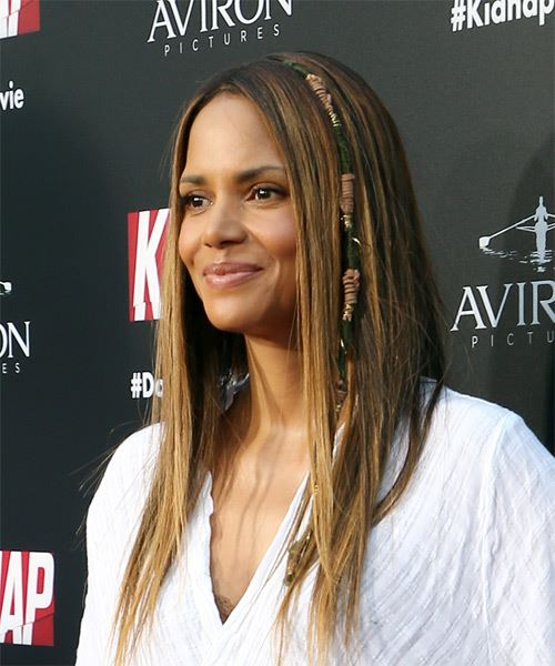 Halle Berry Long Straight Casual    Hairstyle   -  Brunette Hair Color - Side View