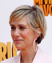 Kristen Wiig Short Straight Casual  with Side Swept Bangs - Medium Blonde - side on view