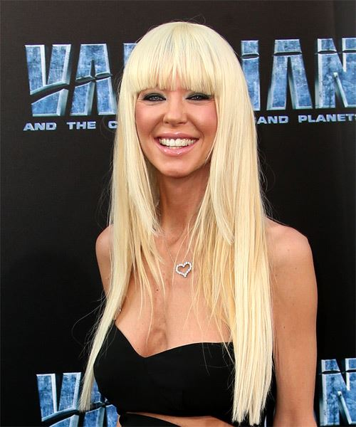 Tara Reid Long Straight Formal   Hairstyle with Blunt Cut Bangs  - Light Blonde - Side View