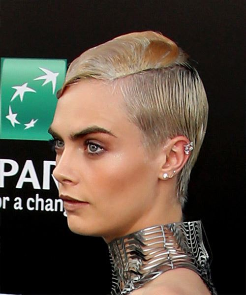Cara Delevingne Short Straight Formal Pixie  Hairstyle   - Light Blonde - Side View